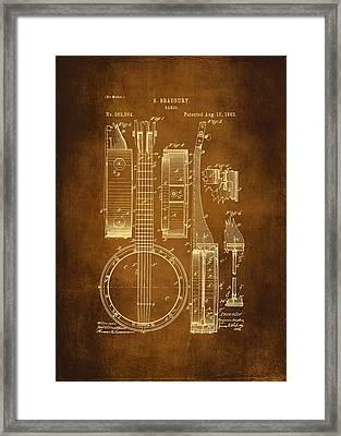 Banjo Patent Drawing - Antique Framed Print