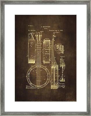 Banjo Patent Drawing - Brown Framed Print