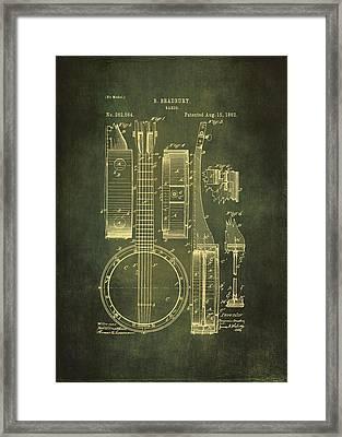 Banjo Patent Drawing - Cyan Framed Print