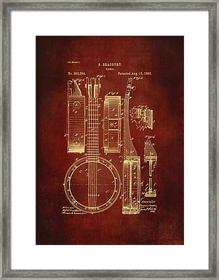 Banjo Patent Drawing - Burgundy Framed Print by Maria Angelica Maira