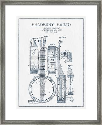 Banjo Patent Drawing From 1882 - Blue Ink Framed Print