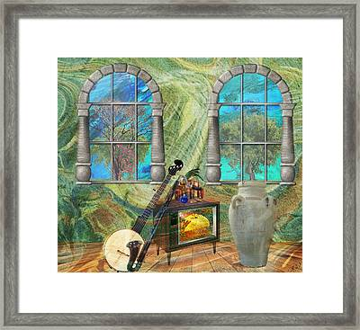 Framed Print featuring the mixed media Banjo Room by Ally  White