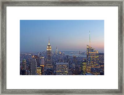 Bank Of America And Empire State Building Framed Print by Juergen Roth