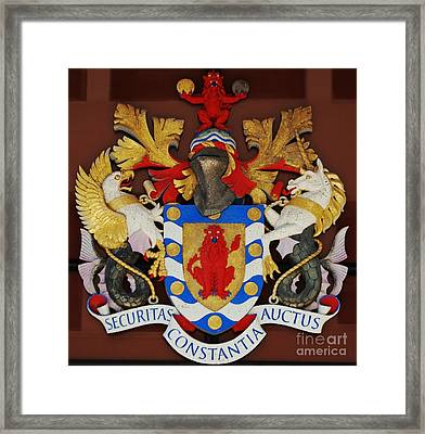 Bank Of Bermuda Coat Of Arms Framed Print by Marcus Dagan