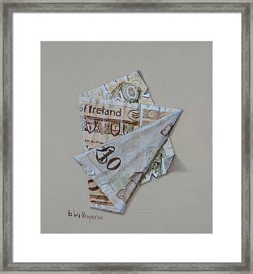 Bank Of Ireland Ten Pound Banknote Framed Print by Barry Williamson
