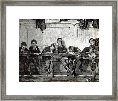 Bank Of Punished In A School Framed Print by Prisma Archivo