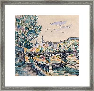 Bank Of The Seine Near The Pont Des Arts Framed Print by Paul Signac
