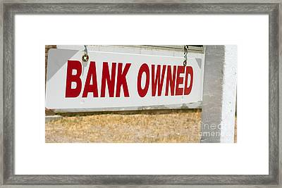Framed Print featuring the photograph Bank Owned Real Estate Sign by Gunter Nezhoda