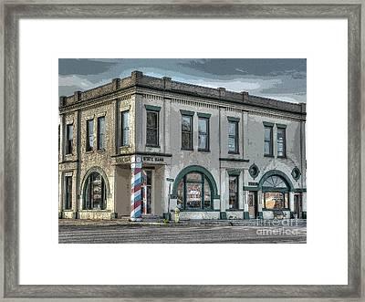 Bank To Barbershop Framed Print by MJ Olsen