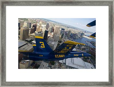 Banking Above Baltimore Framed Print by Ricky Barnard