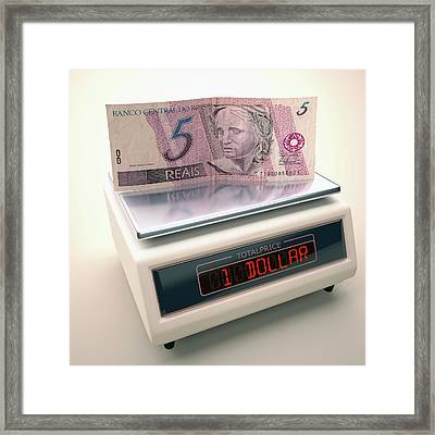 Banknote On Scales Framed Print by Ktsdesign