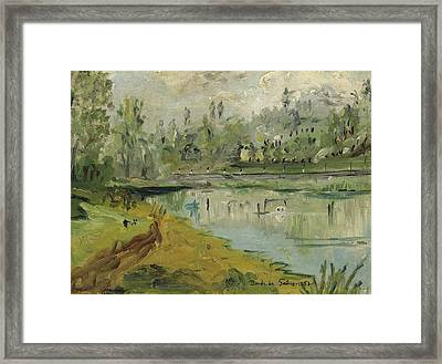 Banks Of The Saone River - Orig. Sold Framed Print by Bernard RENOT