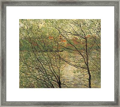 Banks Of The Seine Island Of La Grande Jatte Framed Print