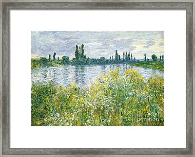 Banks Of The Seine Vetheuil Framed Print by Claude Monet