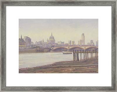 Bankside - Dusk Oil On Canvas Framed Print