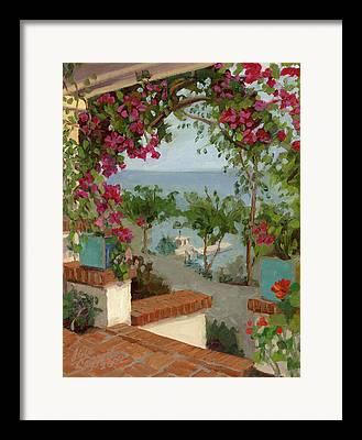 Brick Patio Framed Prints