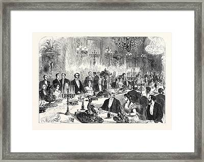 Banquet Given To The Imperial Commissioners Of The Paris Framed Print by French School