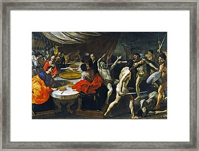 Banquet With A Gladiatorial Contest Framed Print