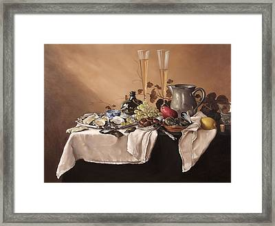 Banquet With Fruit And Wine Framed Print