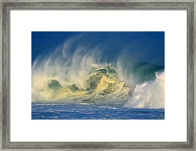 Framed Print featuring the photograph Banzai Pipeline Crashing Wave by Aloha Art