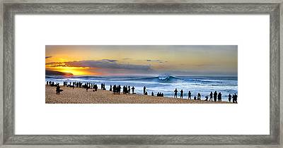 Banzai Sunset Framed Print by Sean Davey