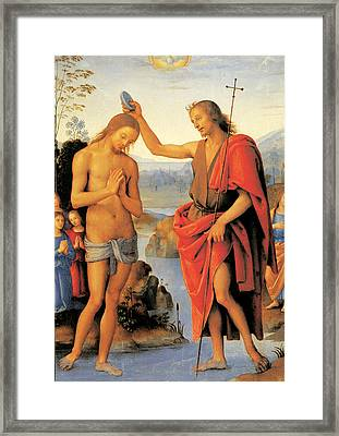 Baptism Of Christ Framed Print by Pietro Perugino