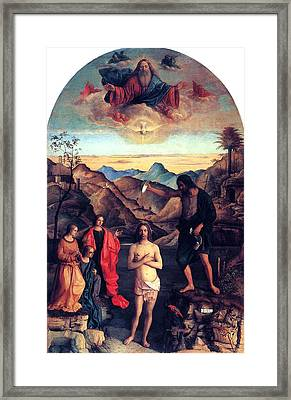 Framed Print featuring the painting Baptism Of Christ With Saint John 1502 Giovanni Bellini by Karon Melillo DeVega
