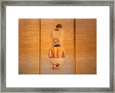 Baptism Of Jesus By Saint John The Baptist - Cathedral Of Our Lady Of The Angels Los Angeles Framed Print by Ram Vasudev