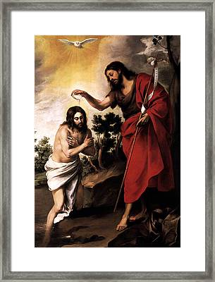 Framed Print featuring the digital art Baptism Of Jesus Christ by Esteban Murillo