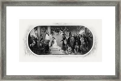 Baptism Of Pocahontas Framed Print