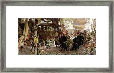 Baptismal Procession Of Prince Juan In Seville Oil On Canvas Framed Print by Francisco Pradilla y Ortiz