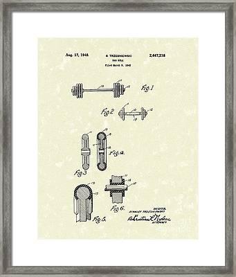 Bar Bell 1948 Patent Art Framed Print by Prior Art Design