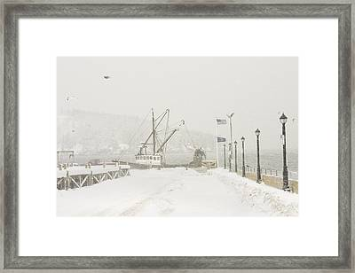 Bar Harbor Snowstorm And Fishing Boat Mount Desert Island Maine Framed Print