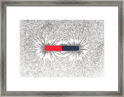 Bar Magnet Attracting Metal Filings Framed Print by Dorling Kindersley/uig
