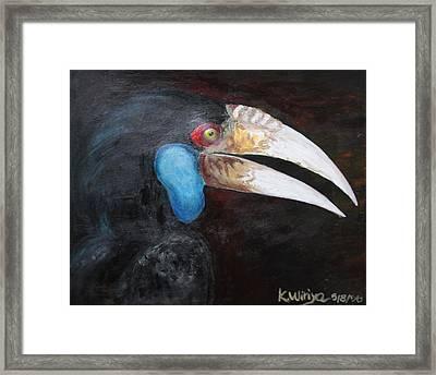 Bar-pouched Wreathed Hornbill Framed Print by Wiriya Klinsaowakon