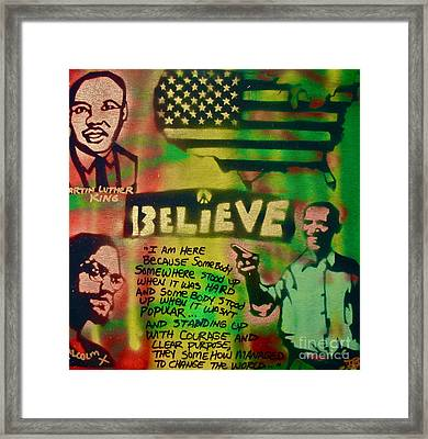 Barack And Martin And Malcolm Framed Print
