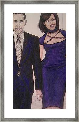 Barack And Michelle Obama On The Balcony At The Whitehouse Framed Print by Vicki  Jones