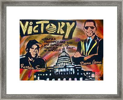 Barack And Russell Simmons Framed Print