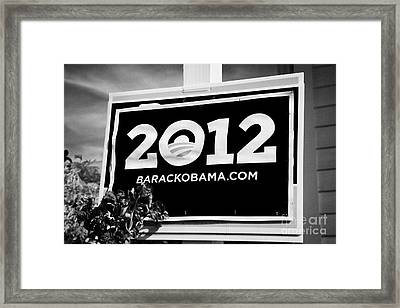 Barack Obama 2012 Us Presidential Election Poster Florida Usa Framed Print by Joe Fox