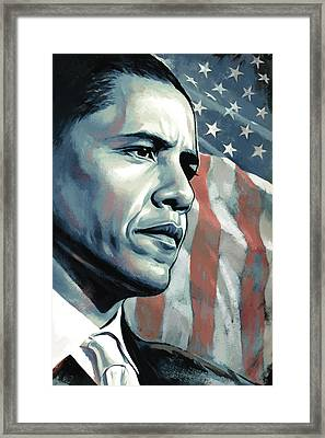 Barack Obama Artwork 2 B Framed Print by Sheraz A