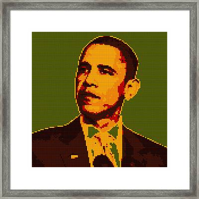 Barack Obama Lego Digital Painting Framed Print