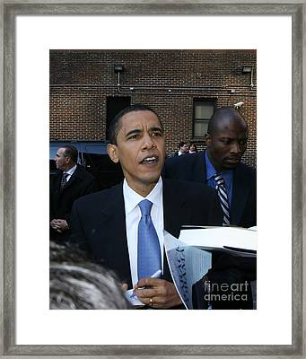 Barack Obama Nyc 4-9-07 Framed Print by Patrick Morgan