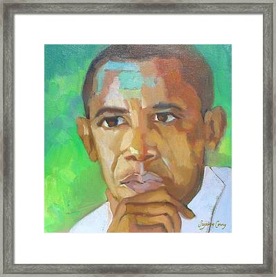 Barack Obama President Elect The Greening Of America Framed Print
