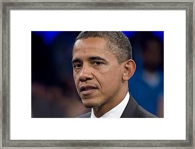 Barack Obama Framed Print by Scott Lenhart