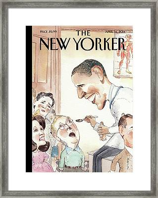 Barack Obama Spoon Feeds Medicine Framed Print