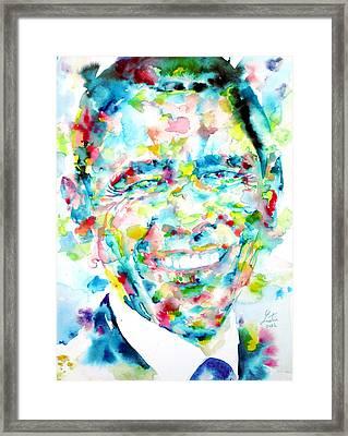 Barack Obama - Watercolor Portrait Framed Print by Fabrizio Cassetta