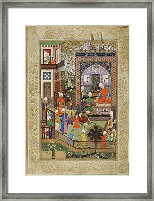 Barbad Playing The Lute Framed Print by British Library