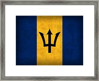 Barbados Flag Vintage Distressed Finish Framed Print by Design Turnpike