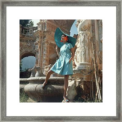 Barbara Bach Wearing Blue Framed Print