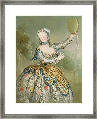 Barbara Campanini Oil On Canvas Framed Print by Antoine Pesne